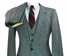YSL Yves St Laurent Tweed 3 Piece Suit 38R 33X34 Long Small Donegal Fleck Vest