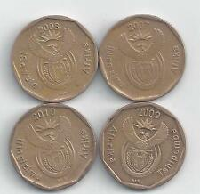 4 DIFFERENT 20 CENT COINS from SOUTH AFRICA (20007, 2008, 2009 & 2010)