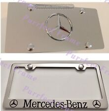 """""""Mercedes-Benz"""" Stainless Mirror Front License Plate & Frame Combo Rust Free"""