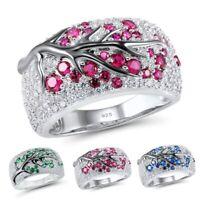 Luxus Rubin Ringe Diamant Pflaume Ring Damen Braut Hochzeit Verlobung Schmuck