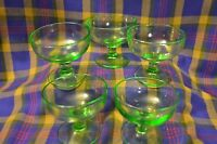 Group of 5 Vintage Green Vaseline Depression Glass Sherbet Cups