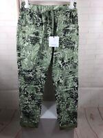 TALY Damen  Hose Jogger Jogpants Röhrenhose Print Grün Taschen Gr.40 42 44