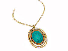 Turquoise Mixed Metal Oval Pendant Necklace Stainless Steel, Copper & Brass 30""