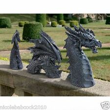 3 Piece Gothic Scaled Winged Dragon of the Moat  Fantasy Lawn Garden Sculpture