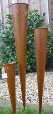 Pflanztüte Tüte Füllhorn 3erSet H=100+75+50cm Metall Edelrost Garten Dekoration