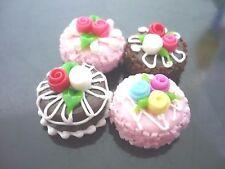 4 Mini Cake Dollhouse Miniatures Food Supply Deco-8