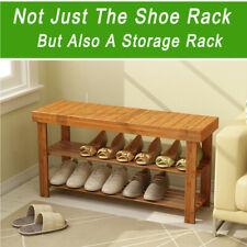 Modern Shoe Bench Entryway Storage Bamboo Shelf Rack Organize Hallway Furniture