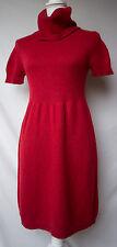 Banana Republic Womens M Christmas Red Sweater Dress Cowl Wool Blend Short Slve