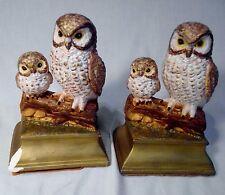 Pair of Owl Statue Figurines Figures Standing on Logs Owl & Baby Ceramic Decor