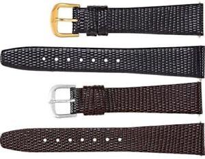 New Men's Long Flat Lizard Grain Leather Watch Strap Band