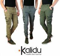 Pantalone Uomo Casual Cargo Con Tasconi Laterali Jeans Multi Tasche Cotone Verde