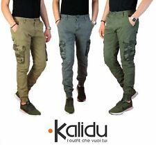 Pantalone Uomo Casual Cargo Con Tasconi Laterali Mimetici Multi Tasche Cotone Ve