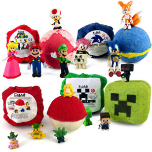 Bath Bomb with Surprise Toy GAMERS PACK (Sonic, Mario, Pokemon, Mining Game)