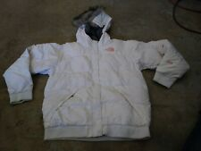 THE NORTH FACE JACKET DOWN 550 HOODIE FUR L GIRLS HIKING SPORT WHITE
