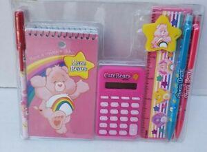 2004 Care Bears Stationary Set Pen Pencil Memo Pad Calculator Ruler Rainbow Day