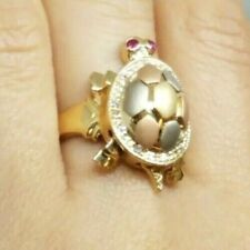 GOLD turtle ring Good Luck lucky 14k Simulated Diamond Ruby 7.3g size 7 5 6 8 9