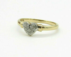 Vintage 9ct Yellow Gold Diamond Heart Ring - Size M 1/2