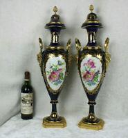 "PAIR 27"" antique French Sevres porcelain Floral bronze putti head Vases signed"