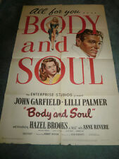 BODY AND SOUL(1947)JOHN GARFIELD ORIG 1SHEET POSTER