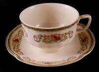 Pareek Johnson Bros England GUERNSEY Flat Cup & Saucer Set Blue Yellow Pink Scro