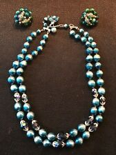 Vintage Jewelry Necklace & Earring Set Mid-Century Marked 'Japan' Blue Beads