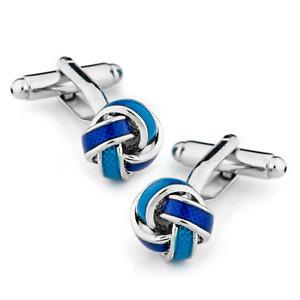 Silver Aqua and Blue Knot Cufflinks