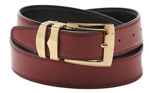 Men's Belt Reversible Bonded Leather Belts Gold-Tone Buckle Over 20 Colors