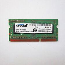 Crucial 2GB PC3-10600 DDR3 256Mx64 204-Pin SODIMM RAM CT25664BC1339.8FD