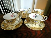 Aynsley England Set Of 4 Demitasse Footed Cups & Saucers Gold & Flowers Antiques
