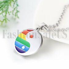 Rainbow Ying Yang Taiji Bagua Pendant Stainless Lesbian Gay Pride LGBT Necklace