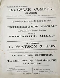 """1919 particulars, plan & conditions of sale """"Kingsdown Farm"""", Sussex, UK"""