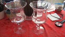 """LARGE PAIR CLEAR CRYSTAL GLASS CANDLE HOLDER 9.75"""" TALL X 6"""" Tulip Shape"""