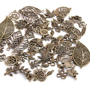 50X Metal Leaf Flower Antique Charms Pendant Craft Necklace Bracelet DIY Making