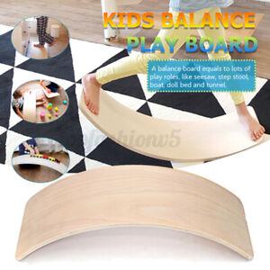32 Inch Kids Wooden Curved Balance Board Toddler Children Fitness Bridge Toy AUS