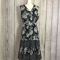 Fashion Bug Sheer Chiffon Black & White Floral with Slip 3 Tiered Dress Size 14