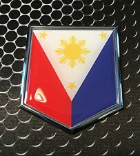 "Philippines Flag Domed CHROME Emblem Flag Car 3D Sticker 2""x 2.25"" Pilipinas"