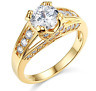 3.40 Ct Round Brilliant Cut Engagement Wedding Ring Trellis Real 14K Yellow Gold