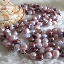 "52"" 5-6mm Multi Color Baroque Freshwater Pearl Necklace Strand L HD"