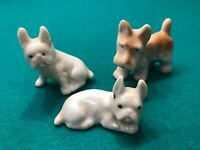 Vintage 1950's Lot Of 3 Cute Miniature Dog Figurines Made In Japan