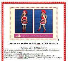 Fiche patron N° 103 vêtements tricot  pour poupée Cathy de Bella 46/48cms