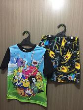 BNWT Boys Sz 10 Licenced Adventure Time Print Short Stretch Summer Pyjamas Set