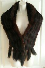 Vintage fur stole, brown, real fur, tails