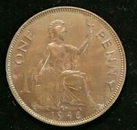 1946  GREAT BRITAIN BRONZE ONE PENNY COIN EF plus