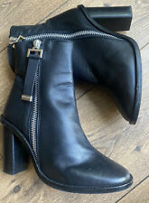 VGC Topshop Black Leather Heeled Zip Detail Chunky  Ankle Boots 6 39