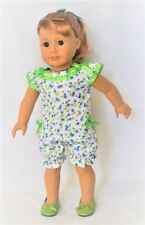 """Doll Clothes 18"""" Pajamas Floral Blue Shorts Top Slippers Green  Fit AG Doll"""