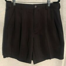 IZOD Black Pleat Front Shorts With Side & Rear Pockets - 34