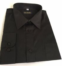 "Rochelle Mens Shirt Size 17 "" Collar Black L/Sleeve Classic Formal Work NEW"