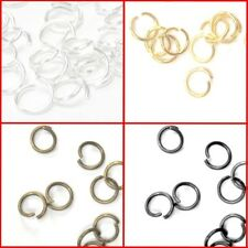 1000 Pcs 4,5,6,7,8,10mm Metal Open Jump Rings - Silver Gold Bronze Black Finding