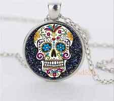 Black sugar skull Glass Dome Pendant Silver Necklace for man woman Jewelry