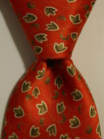 BRIONI Men's 100% Silk Necktie ITALY Luxury Designer LEAVES Red/Green/White EUC
